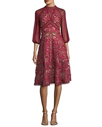 58c9922a Marchesa Notte Women's 3/4 Sleeve Chiffon Guipure Cocktail Dress 14 Wine at  Amazon Women's Clothing store: