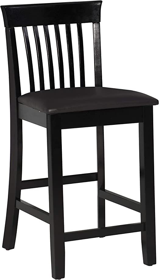 Amazon Com Linon Torino Collection Craftsman Counter Stool 17 25 W X 19 5 D X 37 H Black Furniture Decor