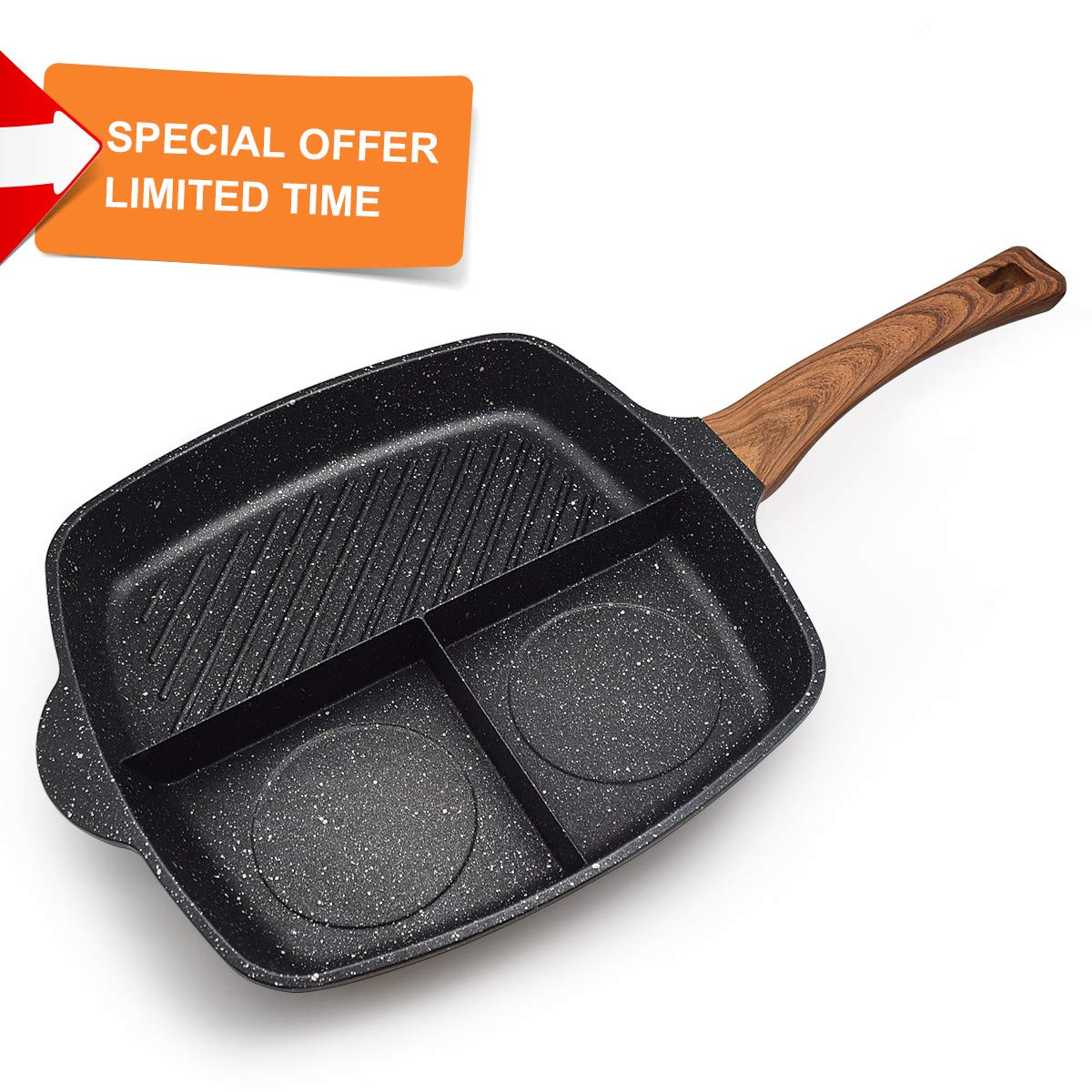 FRUITEAM Meal Skillet 3-in-1 Breakfast Pan Divided Skillet Grill Pan Stone & Ceramic Nonstic Frying Pan, 3 Section Divided Pan, Induction Fry Pan, 1 Year Warranty