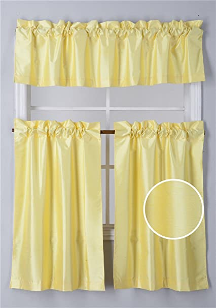 Fancy Collection 3 Pieces Faux Silk Blackout Kitchen Curtain Set Tier Curtains And Valance Solid