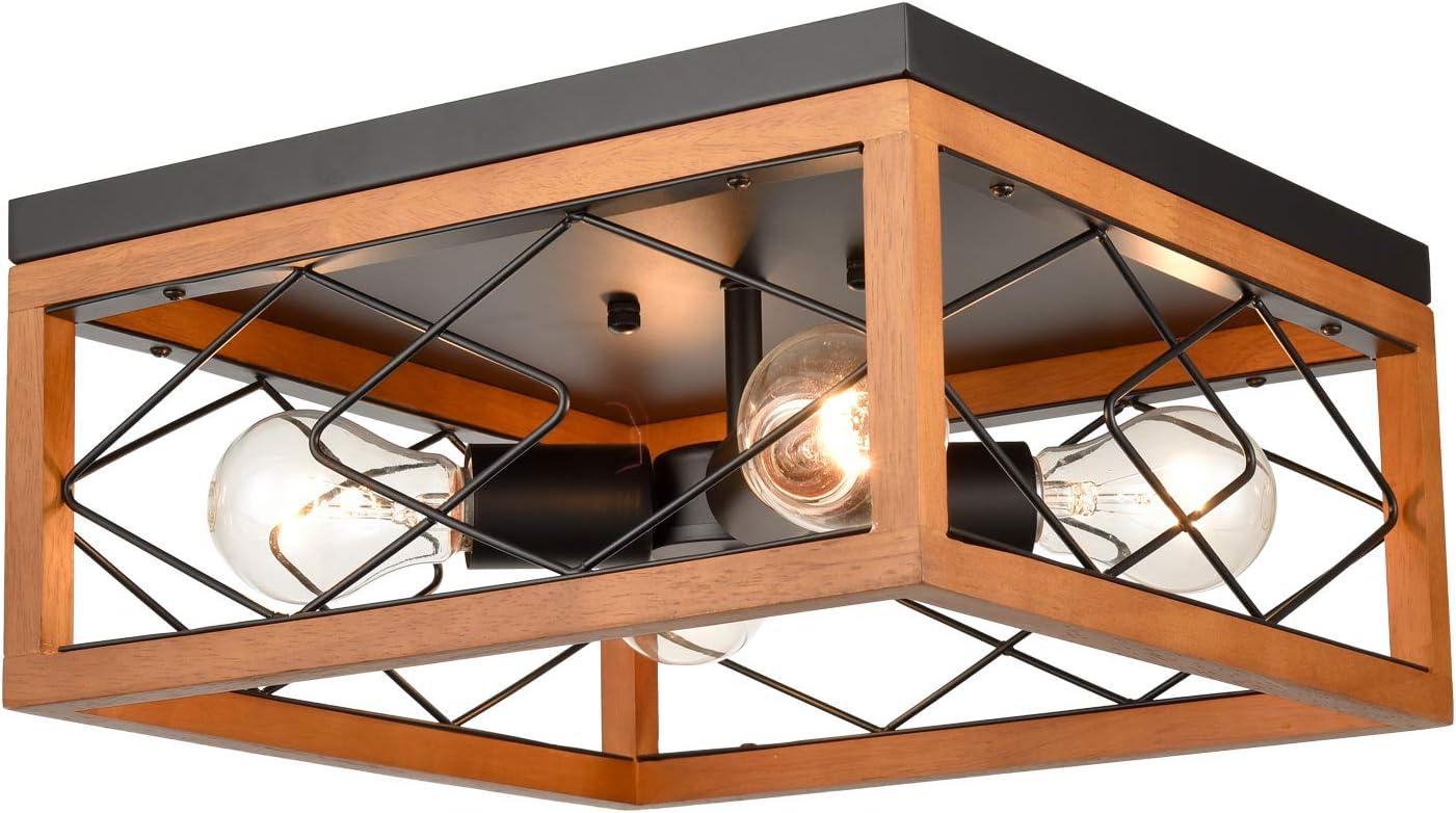 AXILAND Farmhouse Flush Mount Ceiling Light 4-Light Metal and Wood Light Fixture