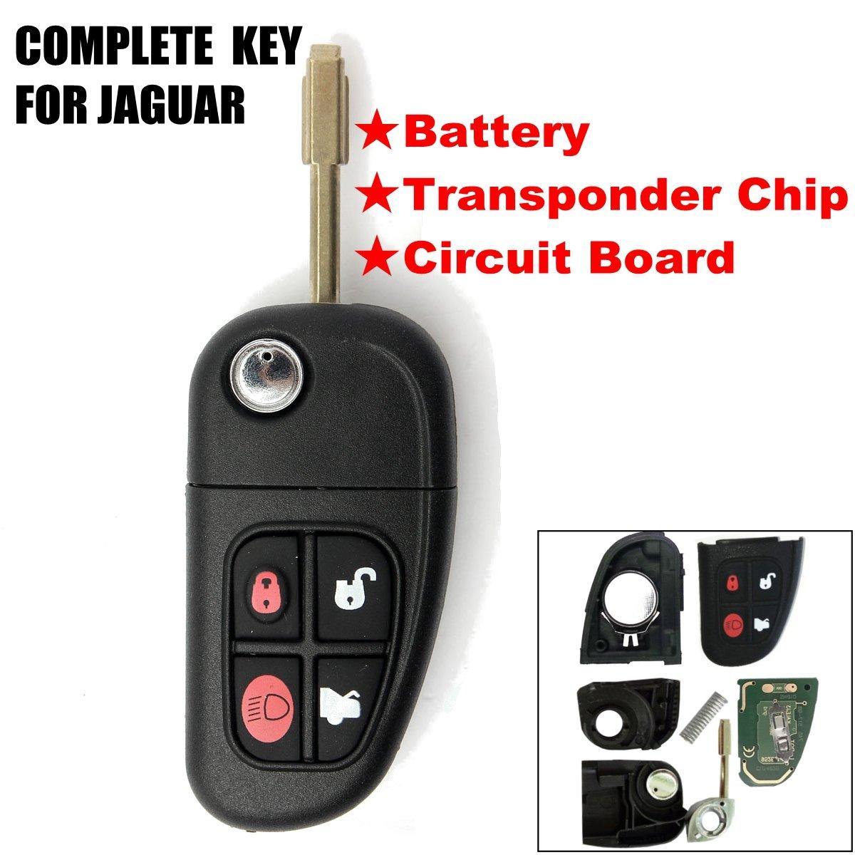 KaTur 1Pcs 4 Buttons 433Mhz Remote Control Car Key Shell Flip Folding Uncut Blade Auto Key Case Cover Replacement with 4D60 Chip for Jaguar
