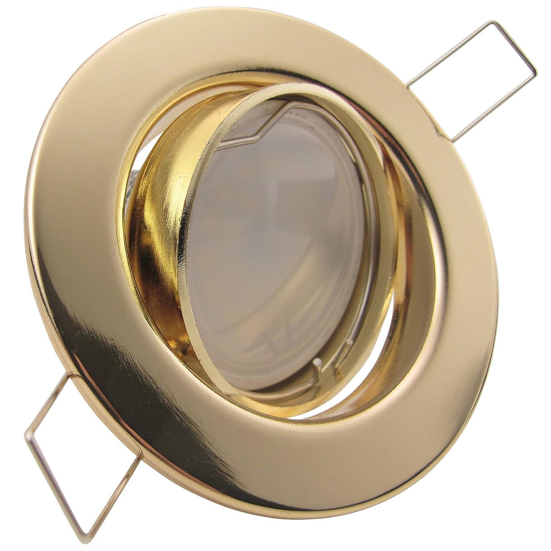8er Set Einbaustrahler DECORA 230V; Deko SMD LED 1,2 Watt (dekorativ); Warm-Weiß; schwenkbar; Decken Einbauleuchte GOLD MESSING