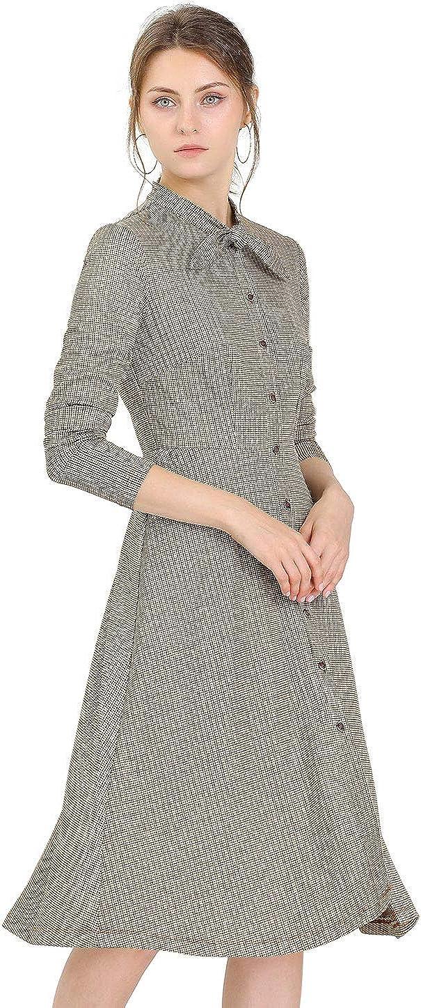 Allegra K Women's Tie Neck Button Up Work Office Plaid Houndstooth Midi Dress