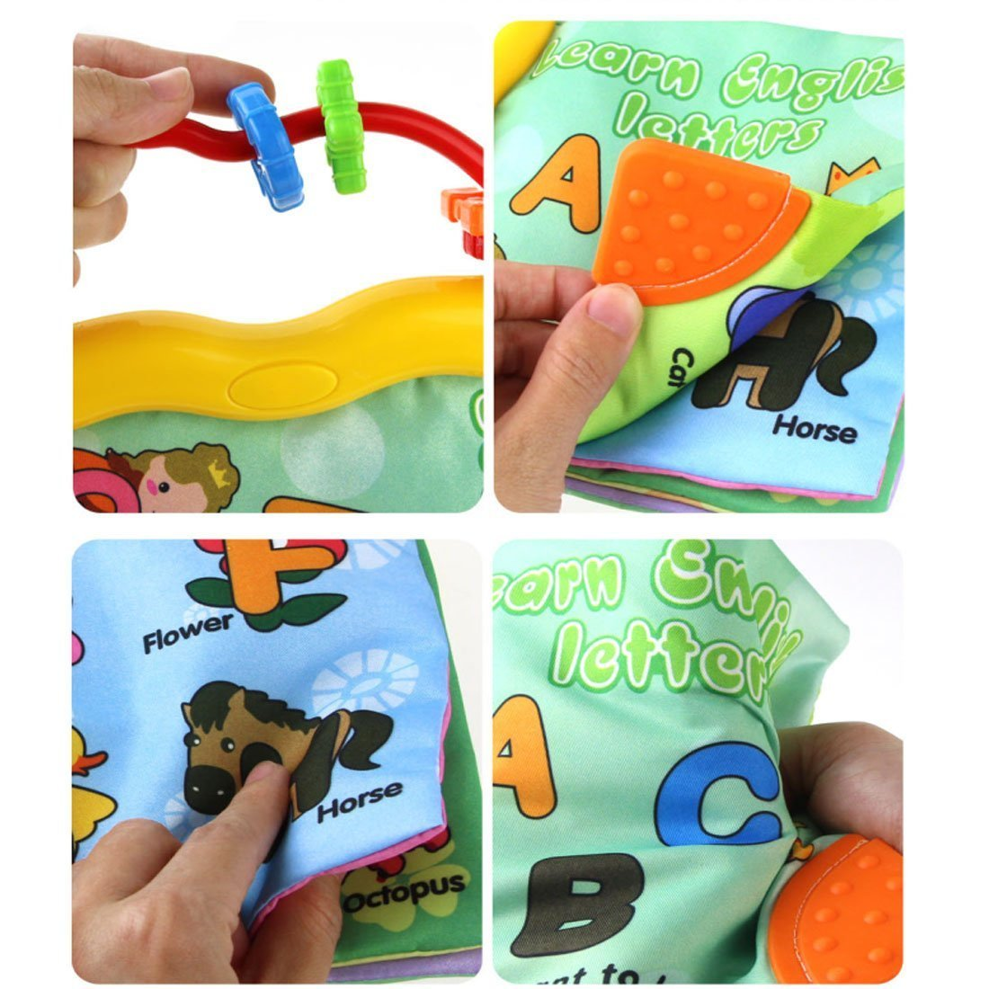 Baby Earlyears Tactile and Educational Non-toxic Cloth Soft Book-Teether Rings-Infant Learning toy English Letters A B C - Squeak, Rattle, Crinkle toddler Activity Gift by Tangomall (Image #3)