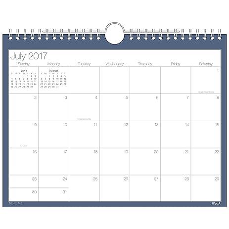 amazon com mead academic monthly wall calendar basic july 2017