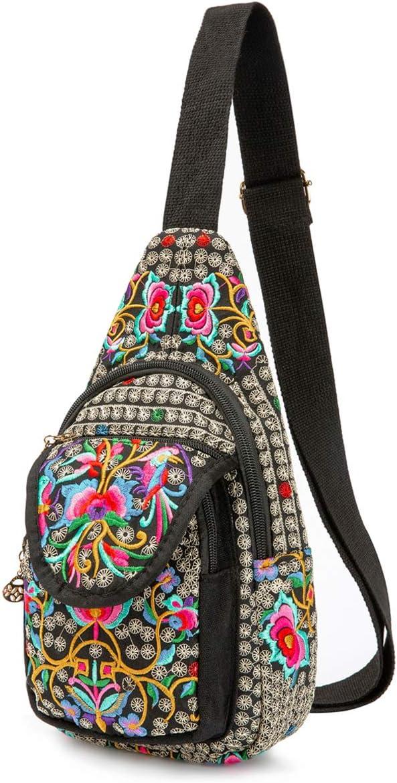 Silkarea Embroidered Canvas Sling Backpack for Women Travel Chest Bag Crossbody Backpack Purse Shoulder Bag