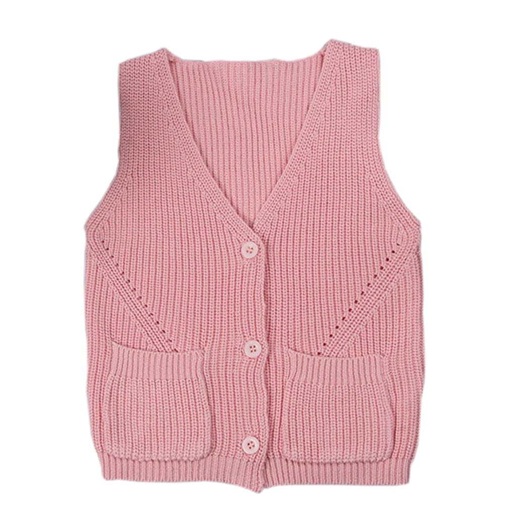 Baby Little Boys Girls Knit Sweater Vest Kids Cotton V Neck Cardigan Waistcoat Button-Down