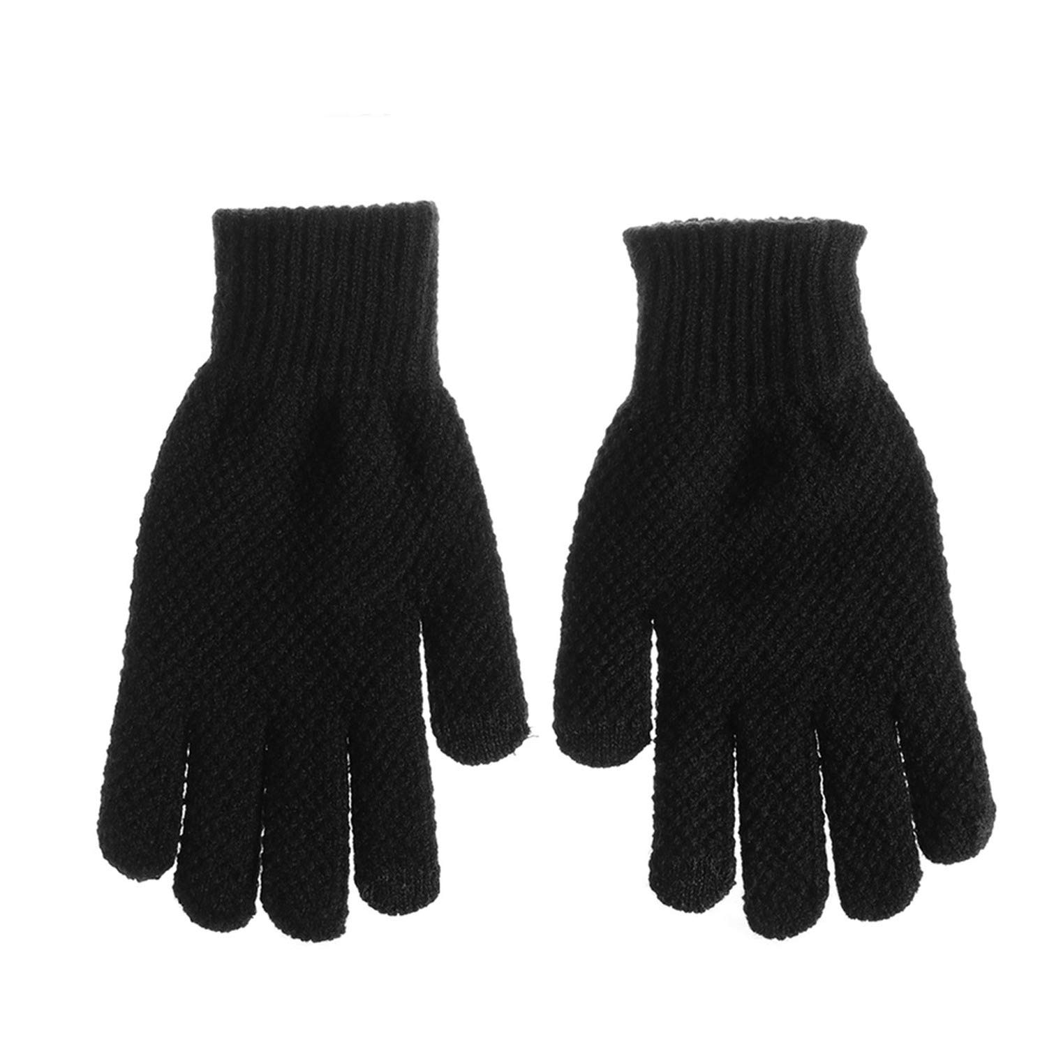 Men Knitted Gloves Flexible Full Finger Gloves Male Thicken Wool Cashmere Solid Gloves