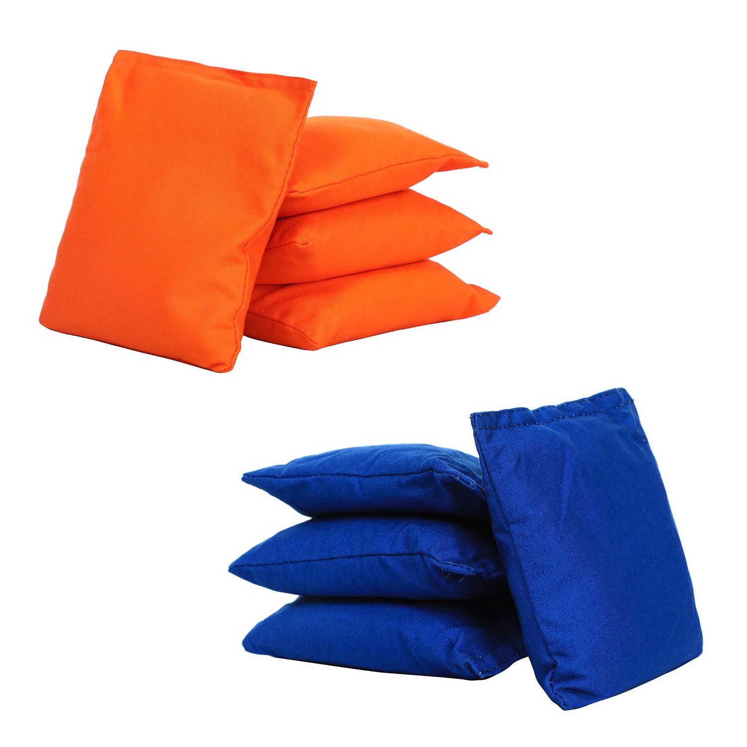 UKASE Cornhole Bean Bags Weather Resistant Double Stitched Canvas Sets of 8 Blue and Orange