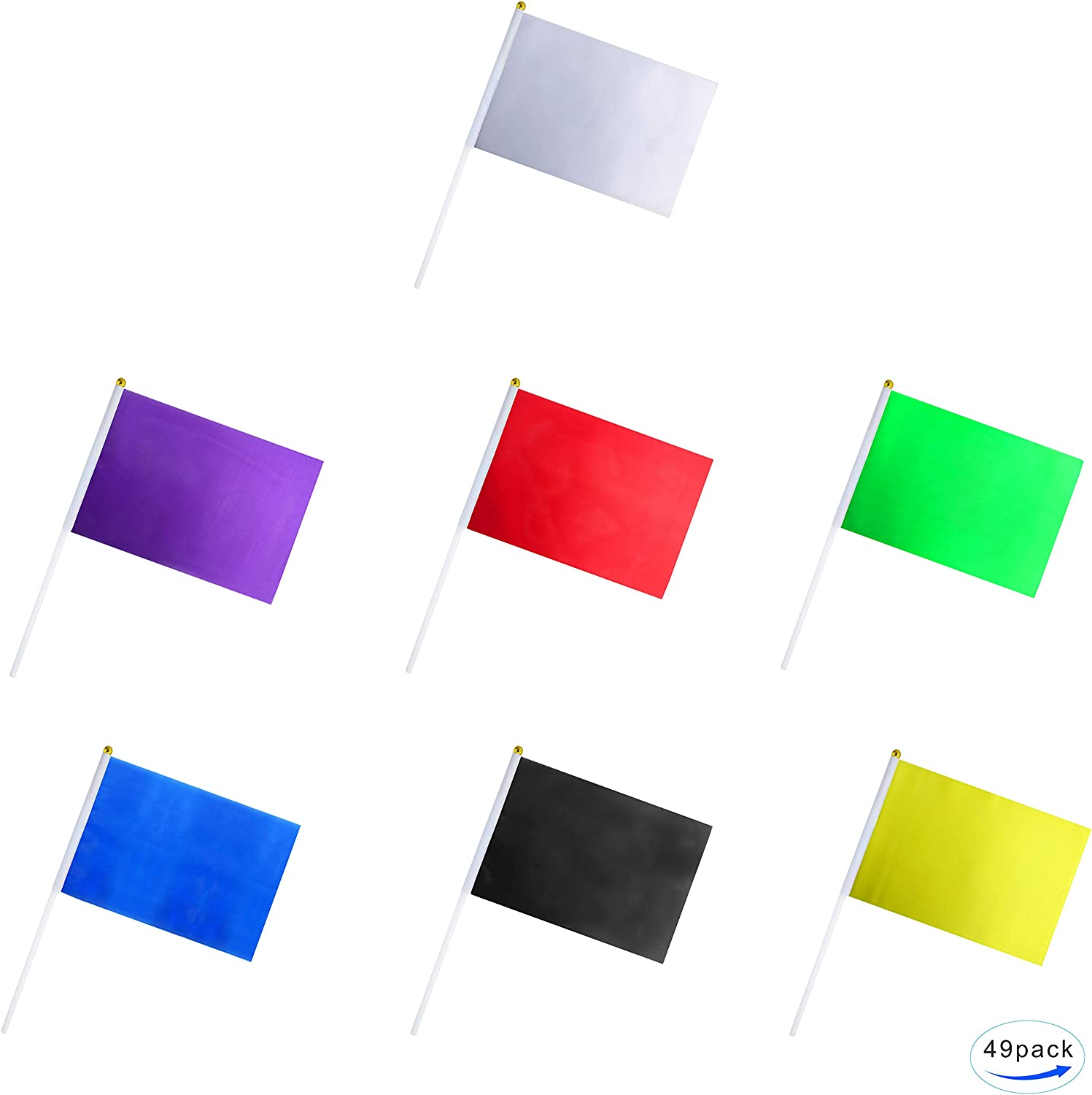 Amazon Com 49 Pack Color Flag Pure Solid Blank Small Mini White