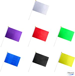 49 pack Color flag, Pure Solid blank small Mini White black red yellow green blue purple banner flags Stick, party decoration parade supplies, school sports club, international festival celebration