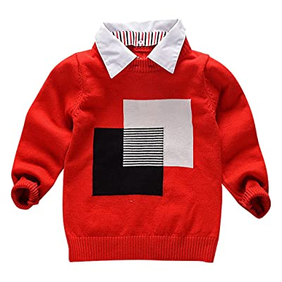 BPrince Kid Solid Color Rib Cuff Contrast Square & Stripe Print Cotton Sweater