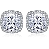JewelryPalace Cuscino 5ct Cubic Zirconia Halo Orecchini a Perno Argento Sterling 925