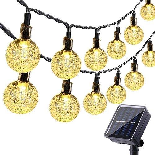 Toodour Globe Solar String Lights, 35.6ft 60 LED Outdoor Bulb String Lights,Waterproof 8 Modes Solar Patio Lights for Patio, Garden, Gazebo, Yard, Outdoors Warm White