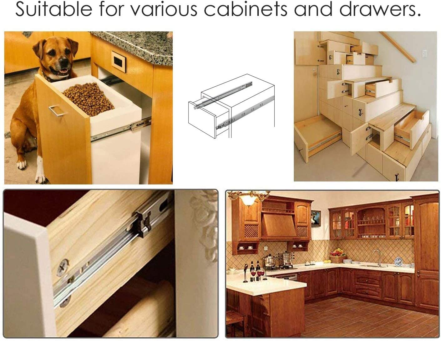 1 Pair 350mm Heavy Duty 3 Folds Ball Bearing Full Extension Drawer Runners Load Capacity 45kg Height 45mm 14inch