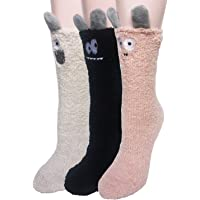 Womens Girls Cute Slipper Sleeping Winter Crew Fuzzy and Warm Socks One Size Fits All (Pattam A)