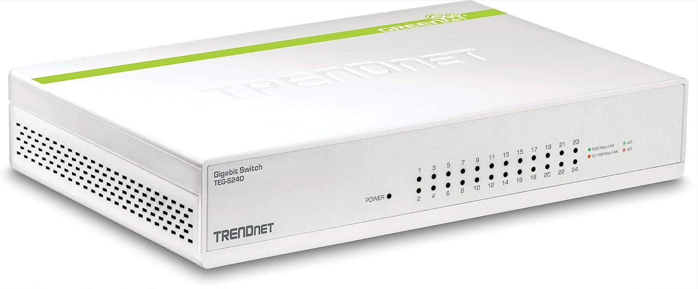TRENDnet 24-Port Gigabit GREENnet Switch, QoS, 48 Gbps Switching Fabric, Fanless, Plug & Play, Half & Full Duplex, TEG-S24D,White
