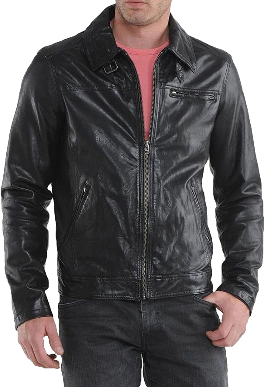New Genuine Lambskin Leather Designer Jacket Motorcycle Biker Mens S M L XL T908