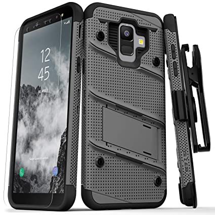 ZIZO Bolt Series Samsung Galaxy A6 case Military Grade Drop Tested Tempered Glass Screen Protector Holster Kickstand Gun Metal Gray