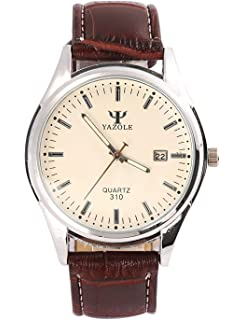 luxury mens watches internet faux leather blue ray glass watches men quartz business style wrist watches blue ray glass white dial and brown leather band