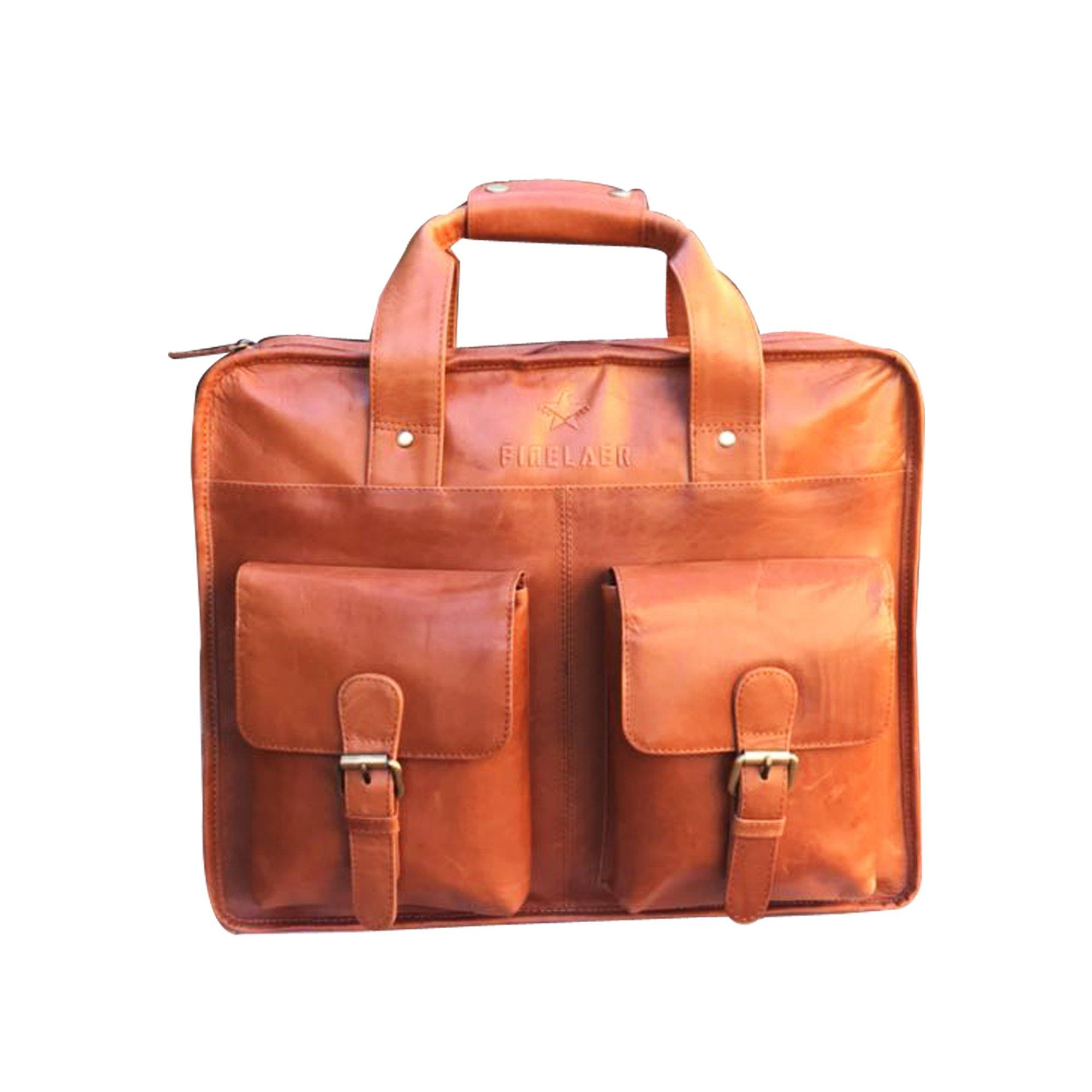 Finelaer Leather Laptop Computer Messenger Bag with Pockets for laptops Macbooks 14'' Brown