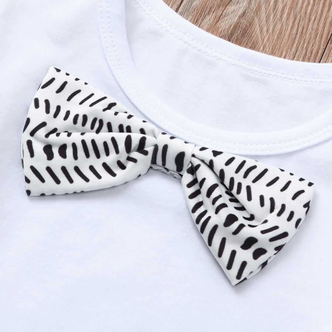 KaiCran Summer Infant Baby Boys Gentleman Bow tie Short Sleeve Shirt+Overall Pants Sets