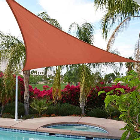 UPGRADE - Toldo Triangular de 15 pies x 15 pies x 21 pies, Color Rojo óxido, protección UV, para Patios, Patios, Patios, Patios, Patios, pérgolas y ...