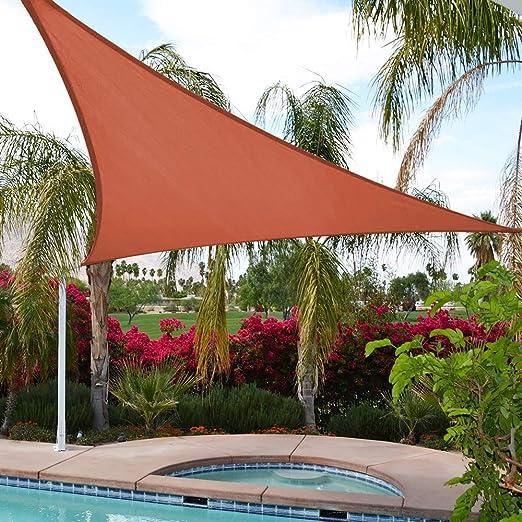 UPGRADE - Toldo Triangular de 15 pies x 15 pies x 21 pies, Color Rojo óxido, protección UV, para Patios, Patios, Patios, Patios, Patios, pérgolas y Jardines: Amazon.es: Jardín