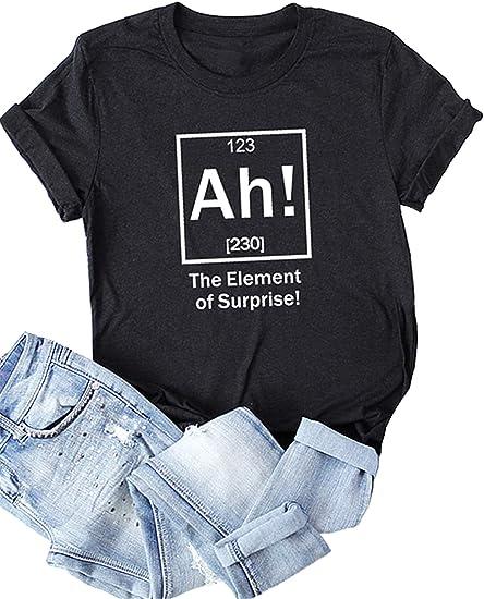 Festnight Women Funny T-Shirt The Element of Surprise Letter Print Short Sleeves Blouse O Neck Plus Size Tees Tops
