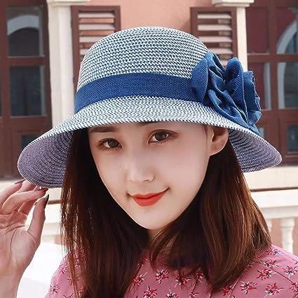 Eeayyygch Sombrero de Mujer Ms Cap Flor Sombrero de Paja Visera con cúpula  Sombrero de Sol cbf65162a5c