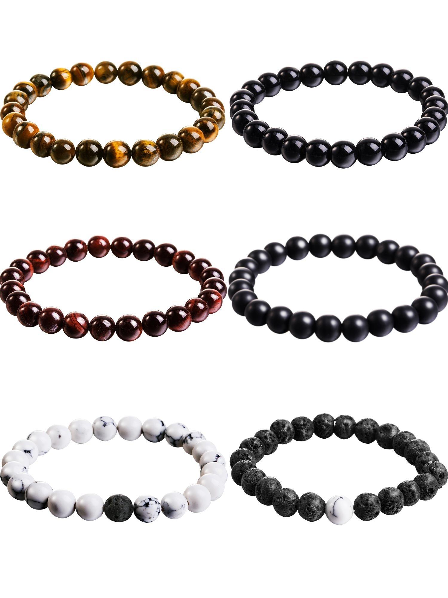 Hestya 6 Pieces 8 mm Tiger Eye Stone Beads Bracelet, Stone Bracelets and Volcanic Rock White Howlite Diffuser Bracelet Yoga Elastic Bracelet Bangle for Men Women (Style 1)