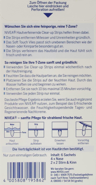 NIVEA Streifen zur Hautverfeinerung und Mitesser-Entfernung, Nase, Stirn  und Kinn, 1 Packung (4 x Nase, 2 x Stirn/Kinn), Clear-Up Strips: Amazon.de:  Amazon ...