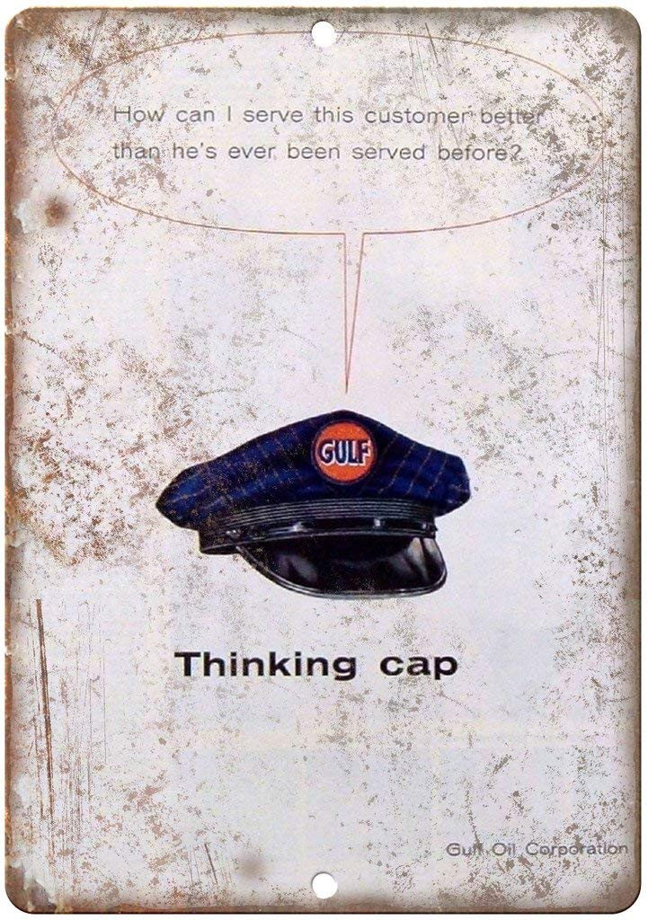Shunry Gulf Oil Thinking Cap Placa Cartel Vintage Estaño ...