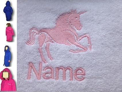 Albornoz infantil con capucha con un unicornio de adultos Logo y nombre de tu elección,