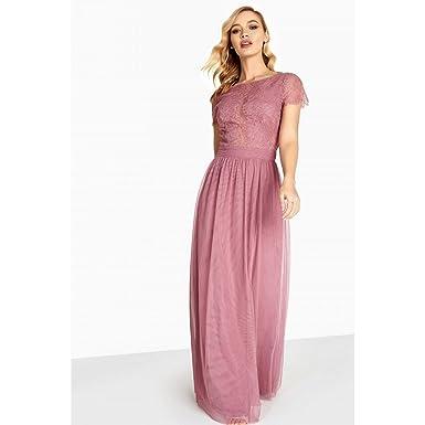 1e7e40f4edbf Little Mistress Womens/Ladies Heidi Lace Overlay Maxi Dress (12 UK) (Canyon  Rose): Amazon.co.uk: Clothing