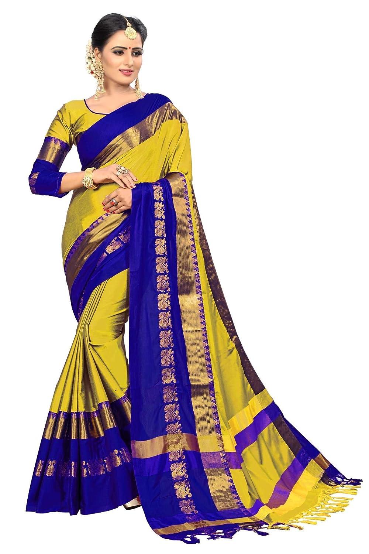 VAIVIDHYAM Women's Cotton Silk With Blouse Piece.