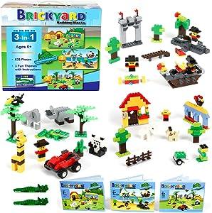 Brickyard Building Blocks 3-in-1 Building Bricks Set, 625 Pieces Compatible Brick Toys - Farm, Pirates, & Zoo Theme with Instructions, 2 Bonus Brick Separators, and Reusable Storage Box (625 pcs)