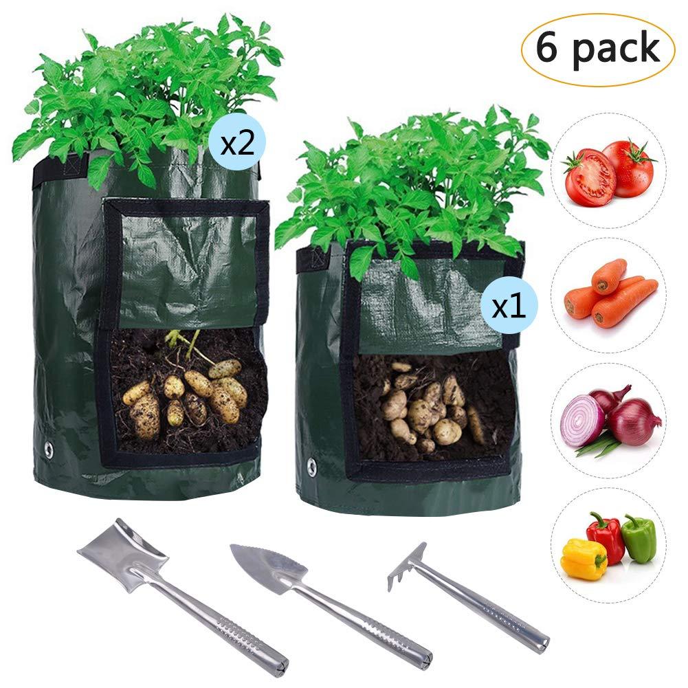 LAMPTOP 6Packs Grow Bags Set With Tools Kit, 2PCS 10 Gallon and 1PCS 7 Gallon Potato Grow Bags, Garden Vegetables Planter Bags with 3Pcs Planter Tools for Planting Vegetables,Onions,Radish,Taro,Carrot