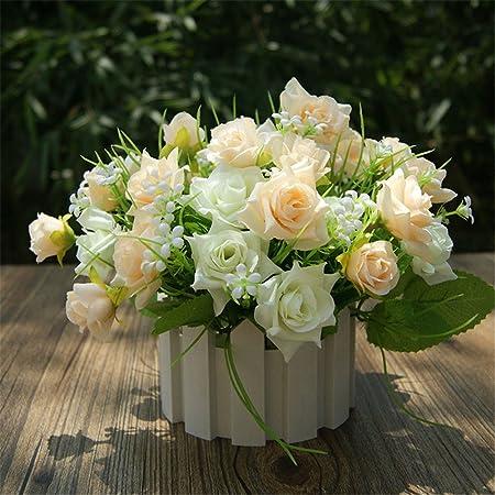 Fleur Artificielle Roses Plantes Couleur Champagne Real