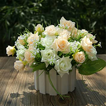 Fleurs Artificielles Roses Plantes Couleur Champagne Real