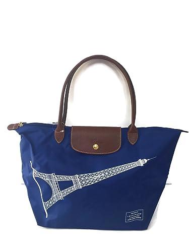 Longchamp Le Pliage Eiffel Tower Limited Edition Large Shoulder Tote - Blue