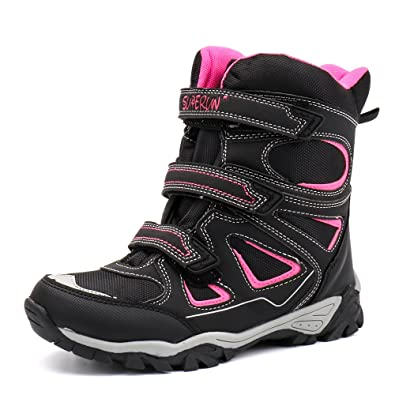7242b8fd21c ALEADER Kids Waterproof Winter Snow Boots Velcro Outdoor Hiking Warm Shoes  Pink 1 UK Big Kid