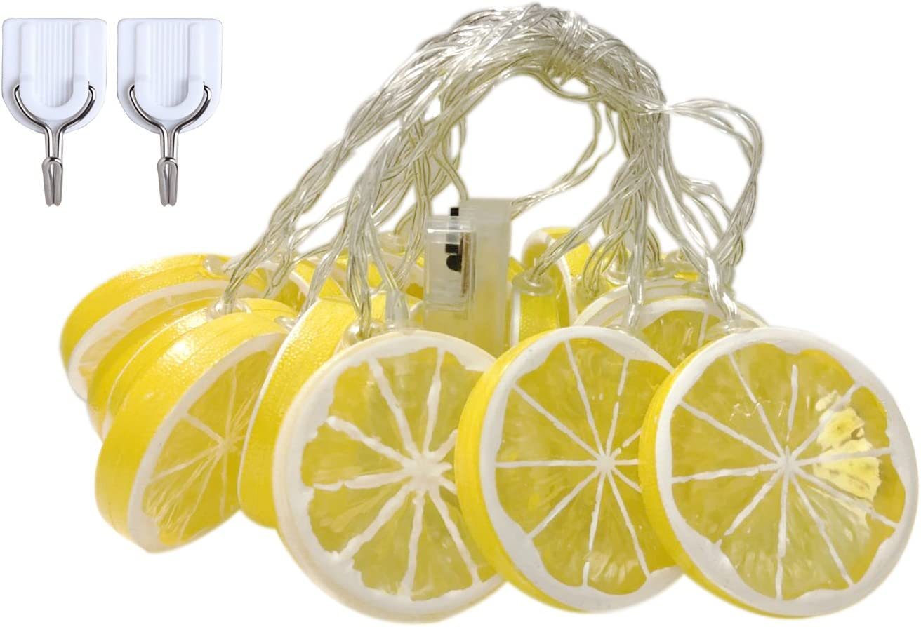 SDOUBLEM Fruit Lemon String Lights 20 LED Battery Operated Lamp Party Holiday Decorations Light for Indoor Home Patio Garden