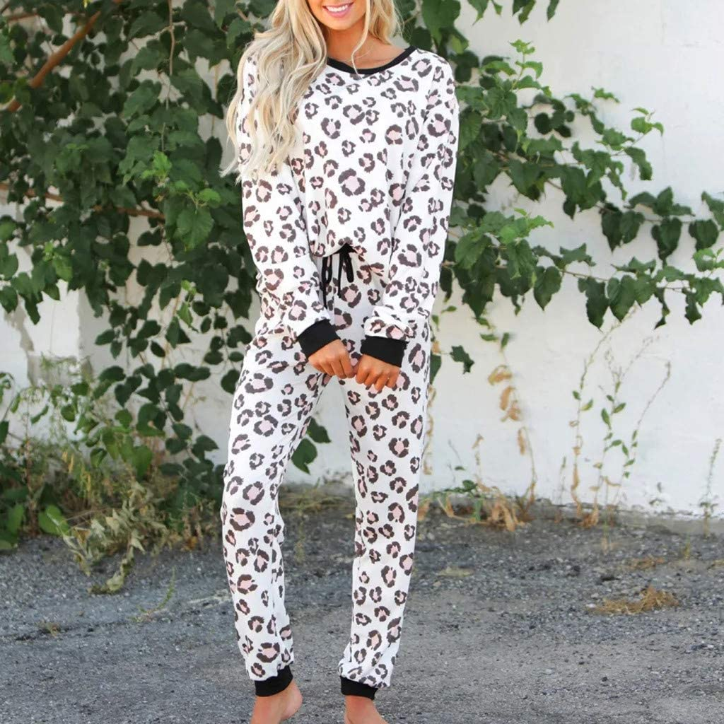 KaloryWee Womens Ladies Leopard Animal Print Warm Winter Pyjama Cosy Soft Fleece Nightwear Loungewear