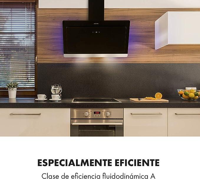 KLARSTEIN Aurora Eco - Campana extractora, 550 m³/h, Bajo Consumo, Eco Excellence, Display LED, Balanced Light Concept , 3 Niveles, Diseño Compacto, Clase fluidodinámica A++, Negro: Amazon.es: Hogar