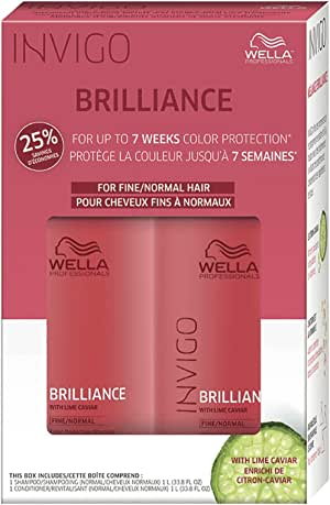 Wella Brilliance Conditioner and Shampoo for Fine to Normal Coloured Hair Set 1000ml Each (2 Pack)