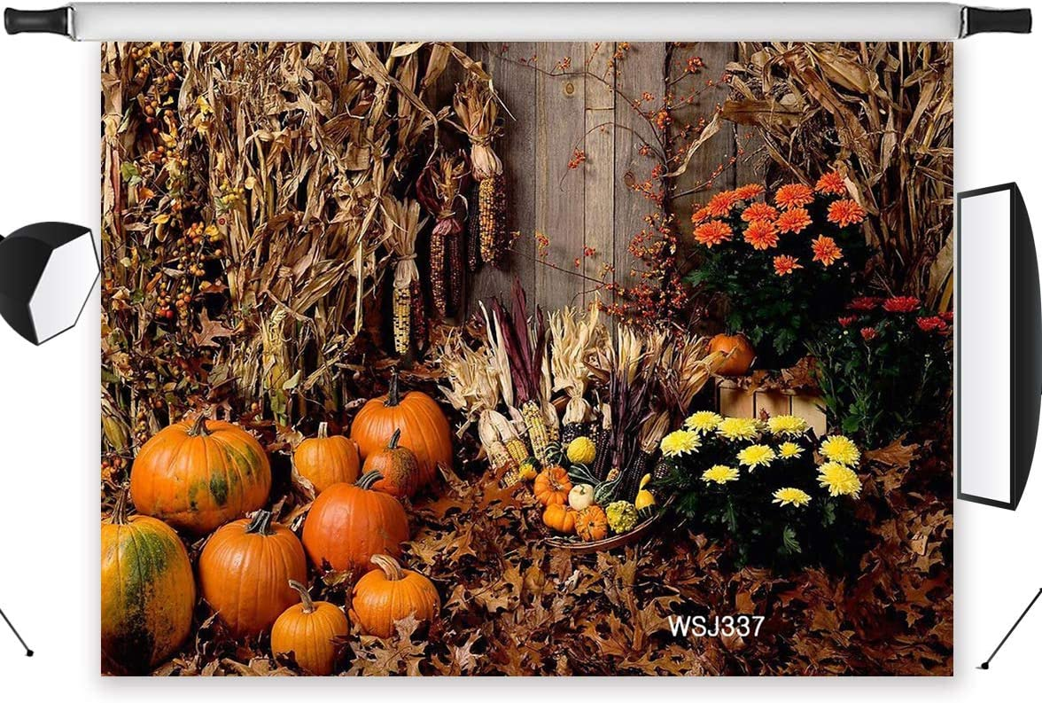 LB Rustic Farm Thanksgiving Backdrop for Photography 9x6ft Harvest Straw and Pumpkin Photo Backdrop for Party Event Customized Photo Background Studio Props,Seamless Washable