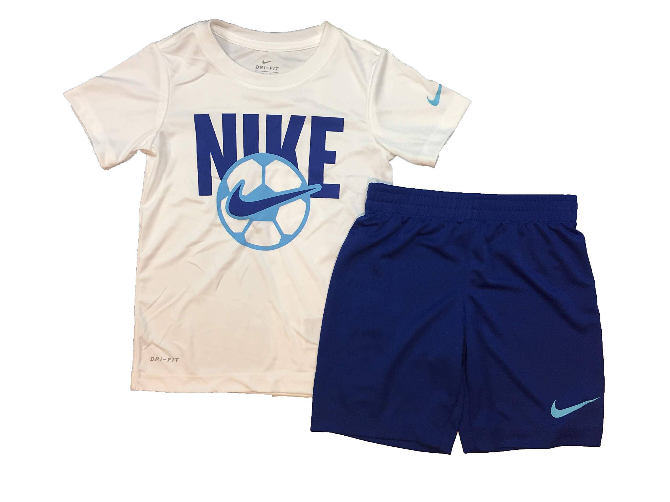 Nike Boy`s Dri-Fit T-Shirt & Shorts 2 Piece Set (5, Indigo Force(86E755-C3M)/White)