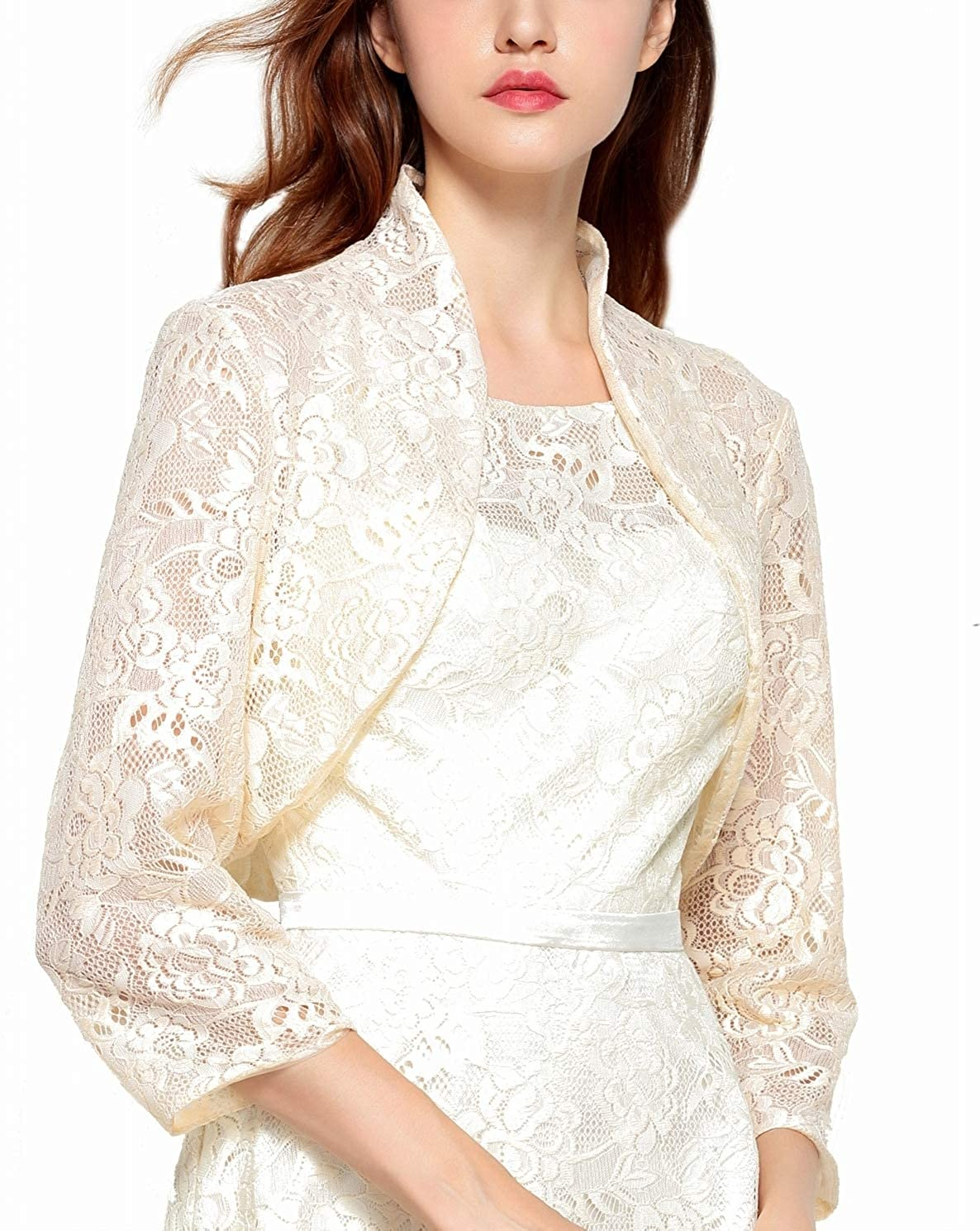 Chic Queen Women's Long Sleeve Floral Lace Shrug Bolero Cardigan